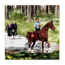 Amish Boy and Girls Tile Coaster
