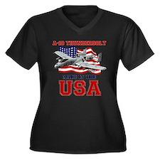 A-10 Thunder Women's Plus Size V-Neck Dark T-Shirt