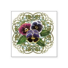 "purple pansy bouquet Square Sticker 3"" x 3"""