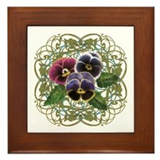 purple pansy bouquet Framed Tile