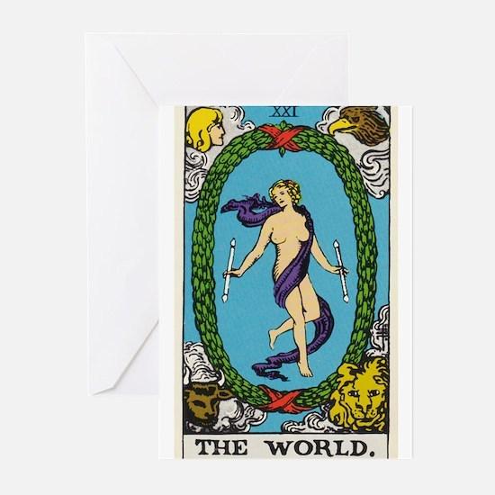 THE WORLD TAROT CARD s Greeting Cards