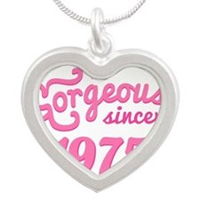 1975 Birth Year Gorgeous Silver Heart Necklace