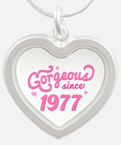 1977 Birth Year Gorgeous Silver Heart Necklace