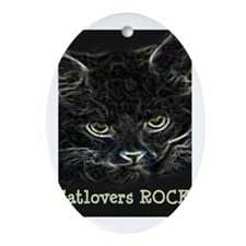 Catlovers ROCK! Oval Ornament