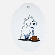 Tailgating Westie Oval Ornament