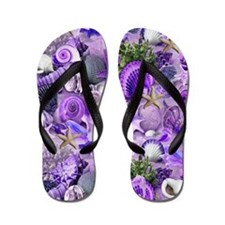 Purple Seashells and Starfish Flip Flops