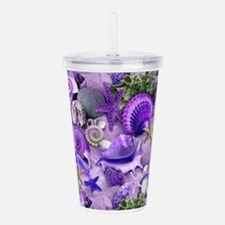 Purple Seashells and Starfish Acrylic Double-wall