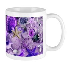 Purple Seashells and Starfish Mugs