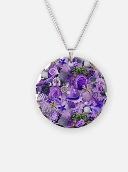 Purple Seashells and Starfish Necklace