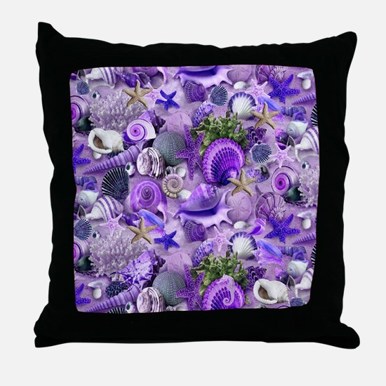 Purple Seashells and Starfish Throw Pillow