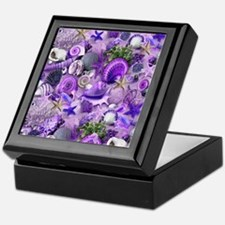 Purple Seashells and Starfish Keepsake Box