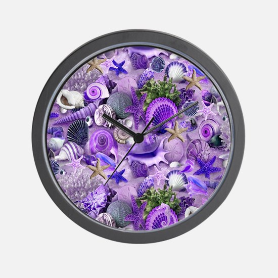Purple Seashells and Starfish Wall Clock