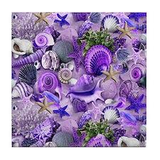 Purple Seashells and Starfish Tile Coaster
