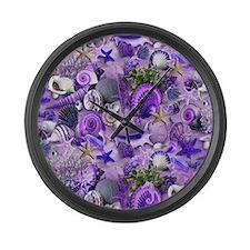 Purple Seashells and Starfish Large Wall Clock