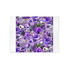 Purple Seashells and Starfish 5'x7'Area Rug