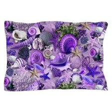 Purple Seashells and Starfish Pillow Case