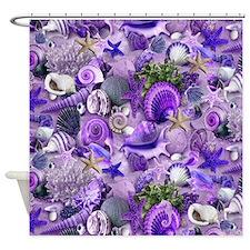 Purple Seashells and Starfish Shower Curtain