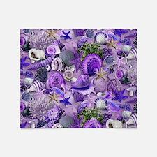 Purple Seashells and Starfish Throw Blanket
