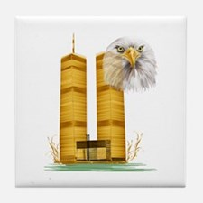 Golden Twin Towers And Eagle Tile Coaster
