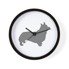 corgi gray 1C Wall Clock