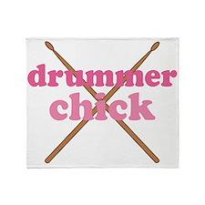 Drummer Chick music Throw Blanket