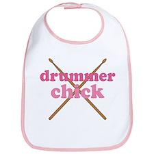 Drummer Chick music Bib