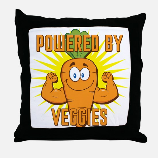 Powered by Veggies Throw Pillow