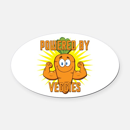 Powered by Veggies Oval Car Magnet
