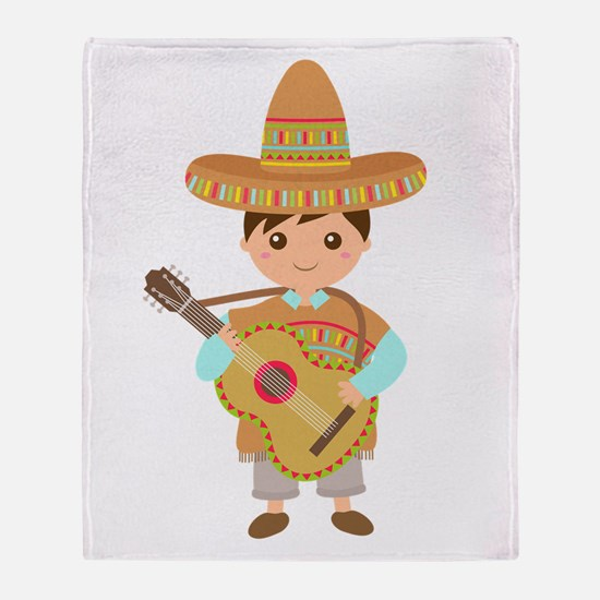 Cute Boy Guitar Mexican Fiesta Throw Blanket