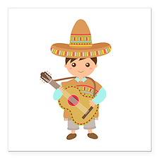 Cute Boy Guitar Mexican Fiesta Square Car Magnet 3