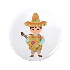 """Cute Boy Guitar Mexican Fiesta 3.5"""" Button"""