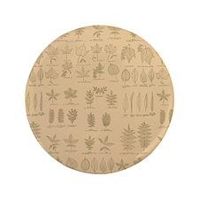 "Tan Green Leaves Chart Pattern 3.5"" Button"