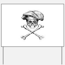 Chef Skull and Crossbones Yard Sign