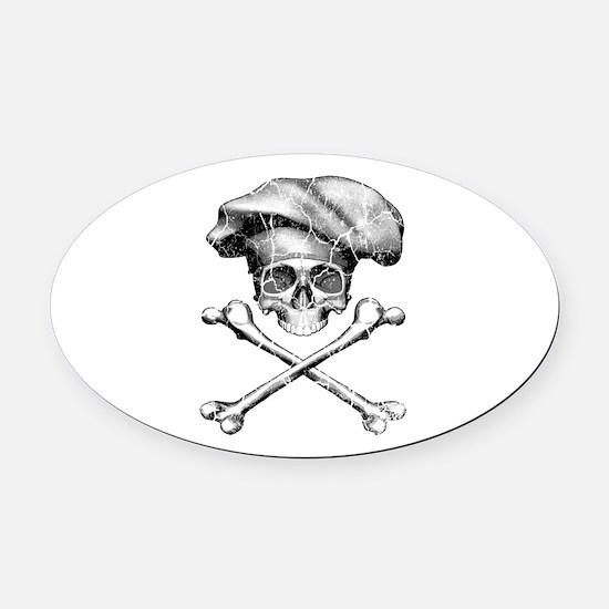Chef Skull and Crossbones Oval Car Magnet