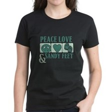 Peace Love Sandy Feet Green T-Shirt