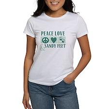 Peace Love Sandy Feet Green T-Shirt
