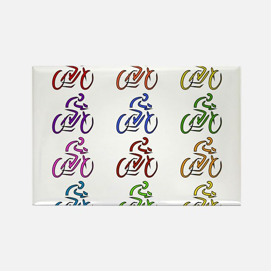 Rainbow Cyclists Rectangle Magnet (100 pack)