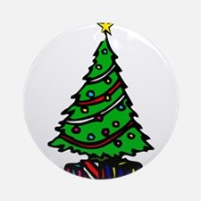 Decorated Christmas Tree & gifts Ornament (Round)
