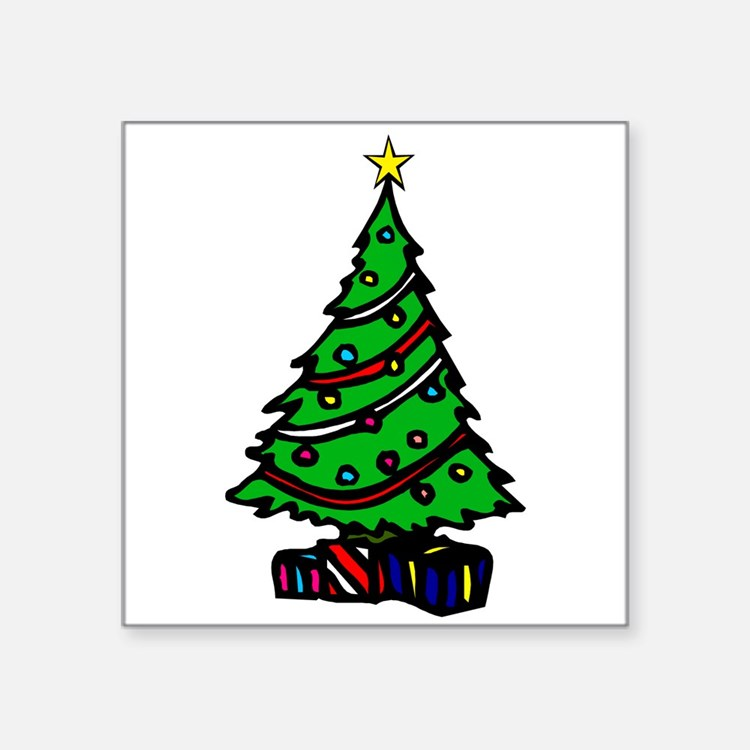 Decorated Christmas Tree & gifts Sticker