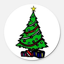 Decorated Christmas Tree & gifts Round Car Magnet