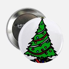 """Decorated Christmas Tree & gifts 2.25"""" Button"""