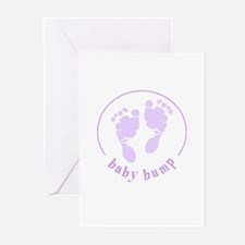 Baby Bump footprints Greeting Cards (Pk of 10)