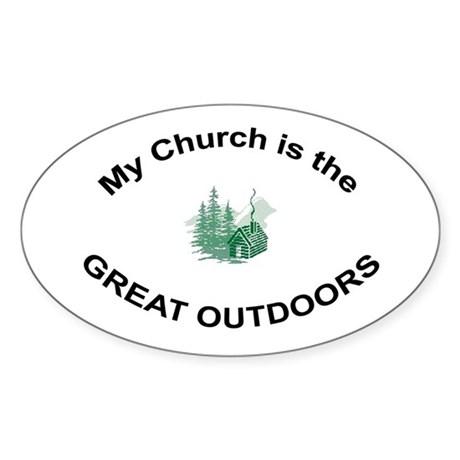My Church is the Great Outdoors Oval Sticker