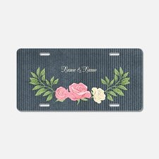 Vintage Roses Aluminum License Plate