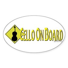 """""""Cello On Board"""" Oval Decal"""