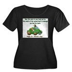 Irish Powered Women's Plus Size Scoop Neck Dark T-