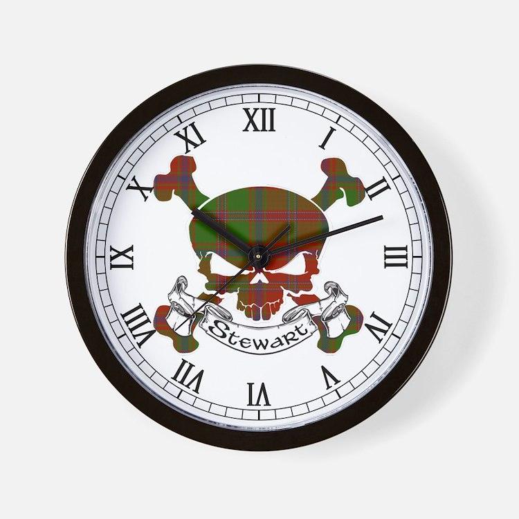 Stewart Tartan Skull Wall Clock