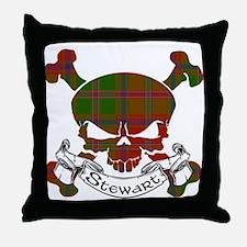 Stewart Tartan Skull Throw Pillow