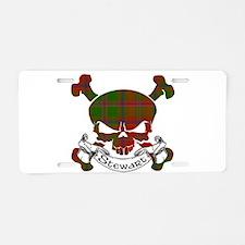 Stewart Tartan Skull Aluminum License Plate