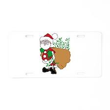 Santa Claus planting trees.png Aluminum License Pl